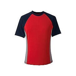 Lands' End - Red short sleeve colourblock swim tee