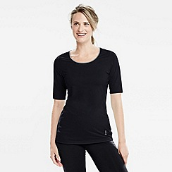 Lands' End - Black women's elbow-sleeve workout tee