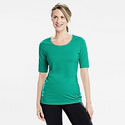Lands' End - Green women's elbow-sleeve workout tee