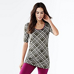 Lands' End - Grey women's print elbow-sleeve workout tee
