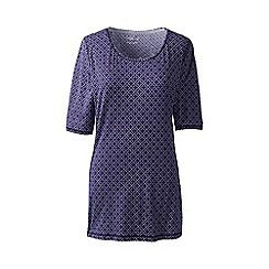 Lands' End - Purple tall print elbow-sleeve workout tee