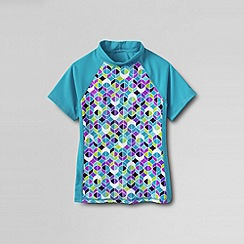Lands' End - Blue little girls' short sleeve mock neck colourblock rash guard top
