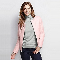 Lands' End - Pink women's boiled wool bomber jacket