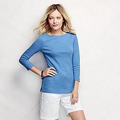 Lands' End - Blue women's regular three quarter sleeve boatneck top