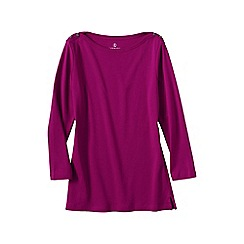 Lands' End - Pink women's regular three quarter sleeve boatneck top