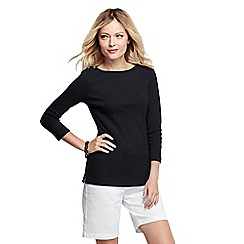 Lands' End - Black women's petite three quarter sleeve boatneck top