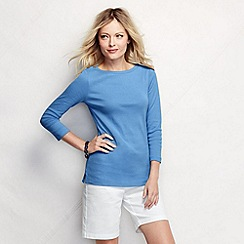 Lands' End - Blue women's petite three quarter sleeve boatneck top