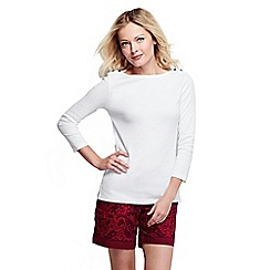 Lands' End - White women's petite three quarter sleeve boatneck top
