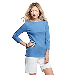 Lands' End - Blue women's tall three quarter sleeve boatneck top