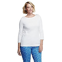 Lands' End - White women's plus size three quarter sleeve boatneck top