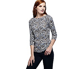 Lands' End - Blue women's regular three quarter sleeve print boatneck rib top