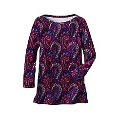 Lands' End - Red women's regular three quarter sleeve print boatneck rib top