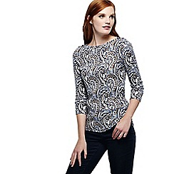 Lands' End - Blue women's three quarter sleeve print boatneck rib top