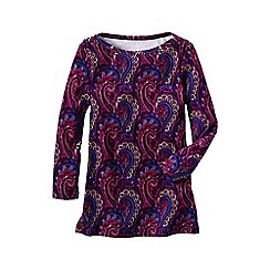 Lands' End - Red women's three quarter sleeve print boatneck rib top
