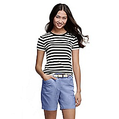 Lands' End - Black women's striped rib crew neck t-shirt