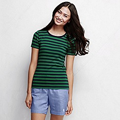 Lands' End - Blue women's striped rib crew neck t-shirt
