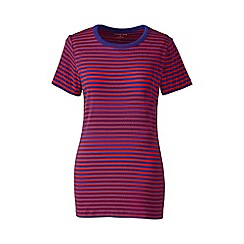 Lands' End - Red petite striped rib crew neck t-shirt