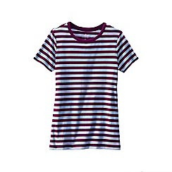 Lands' End - Red women's petite striped rib crew neck t-shirt