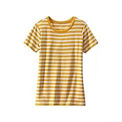 Lands' End - Gold women's petite striped rib crew neck t-shirt