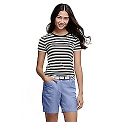 Lands' End - Black women's striped rib crew neck t-shirt petite