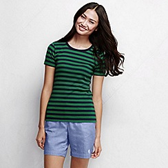 Lands' End - Blue women's striped rib crew neck t-shirt petite