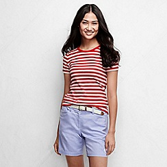Lands' End - Red women's striped rib crew neck t-shirt petite