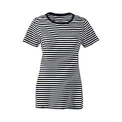 Lands' End - Blue petite striped rib crew neck t-shirt