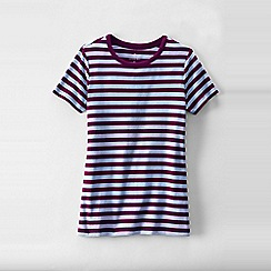 Lands' End - Red women's plus striped rib crew neck t-shirt