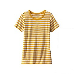 Lands' End - Gold women's plus striped rib crew neck t-shirt