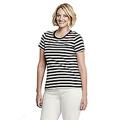 Lands' End - Black women's plus size striped rib crew neck t-shirt