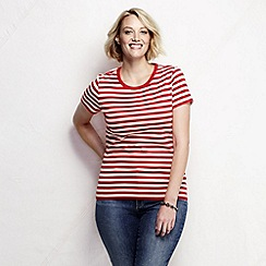 Lands' End - Red women's plus size striped rib crew neck t-shirt