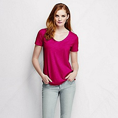 Lands' End - Pink women's tri-blend jersey V-neck tee