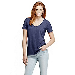 Lands' End - Blue women's tri-blend jersey V-neck tee