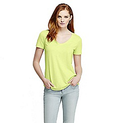 Lands' End - Yellow women's tri-blend jersey V-neck tee