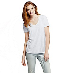 Lands' End - White women's tri-blend jersey V-neck tee