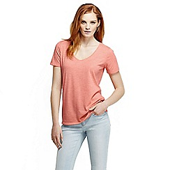 Lands' End - Orange women's tri-blend jersey V-neck tee