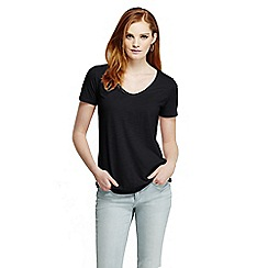 Lands' End - Black women's tri-blend jersey V-neck tee