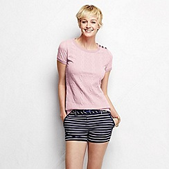 Lands' End - Pink women's cable jacquard tee
