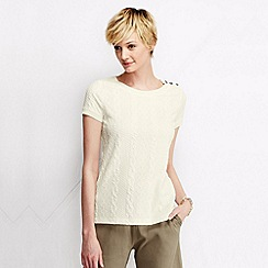 Lands' End - Cream women's cable jacquard tee