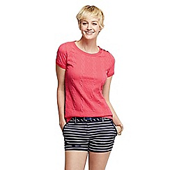 Lands' End - Red petite cable jacquard tee