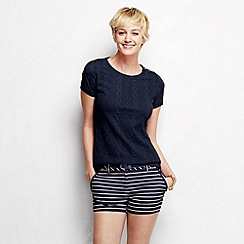 Lands' End - Blue women's cable jacquard tee
