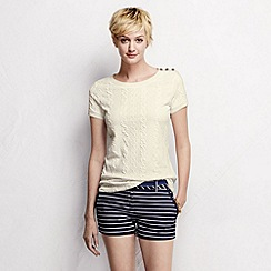 Lands' End - Cream petite cable jacquard tee
