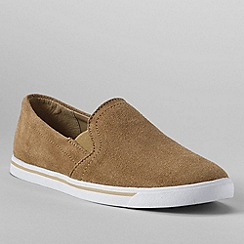 Lands' End - Beige women's casual suede slip on
