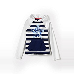 Lands' End - Blue girls' long sleeve graphic sun hoodie