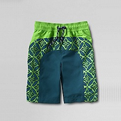 Lands' End - Green little boys' curved colourblock swim shorts