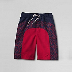 Lands' End - Red little boys' curved colourblock swim shorts