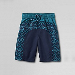 Lands' End - Blue boys' curved colourblock swim shorts