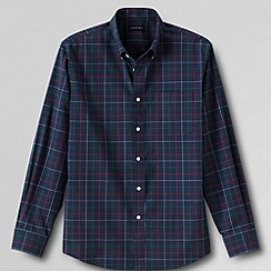 Lands' End - Blue men's tailored fit easy-iron heathered twill shirt