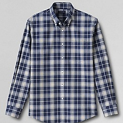 Lands' End - Multi men's tailored fit easy-iron heathered twill shirt