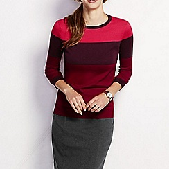 Lands' End - Red women's supima three-quarter sleeve colourblock jumper